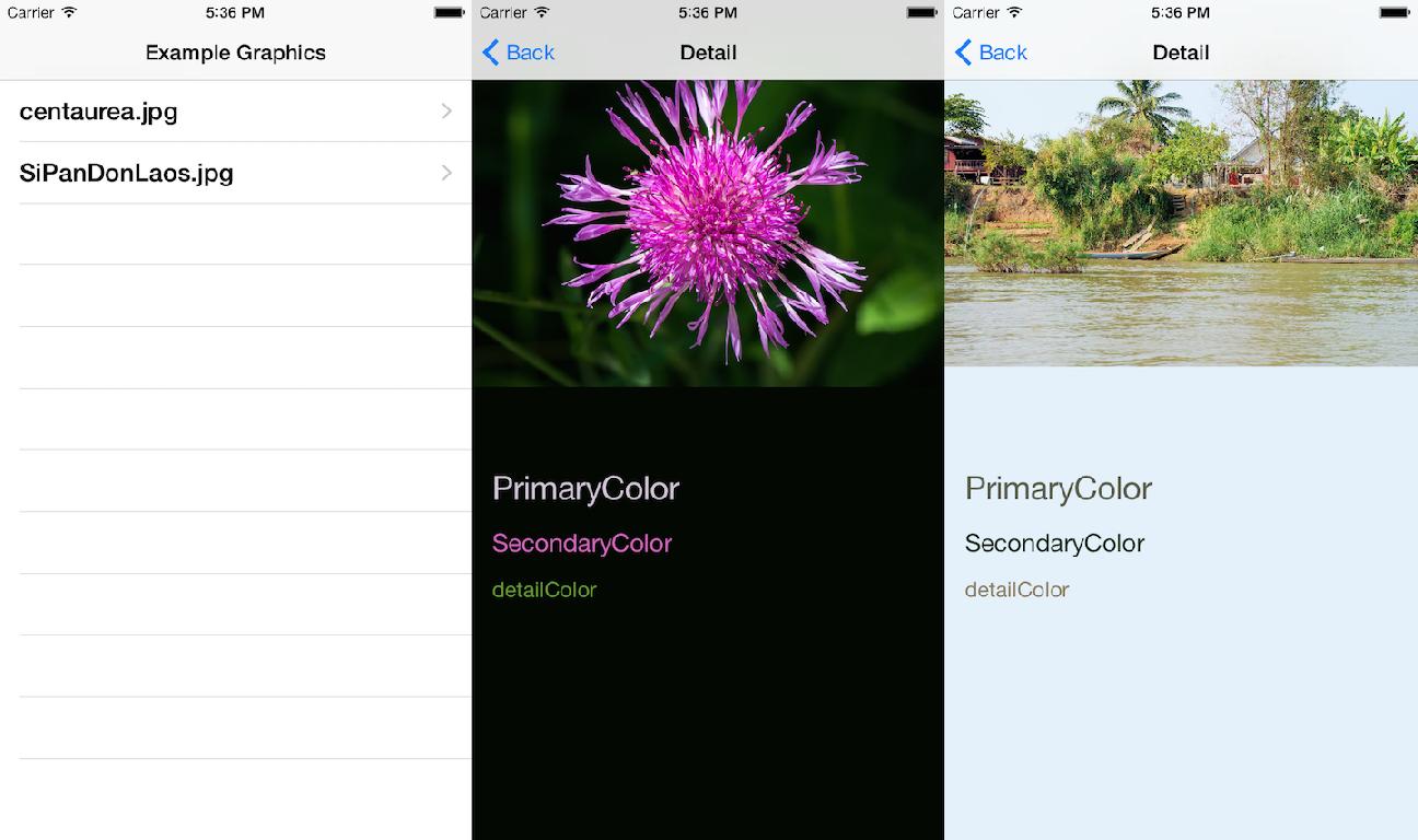 根据图片色系决定界面背景色及字体颜色的示例项目SwiftColorArt
