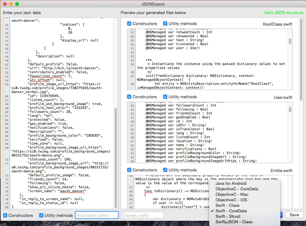 将JSON自动生成代码的工具JSONExport